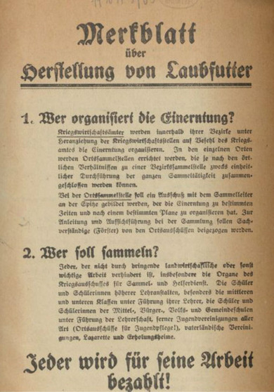 Brochure on the manufacture of animal food from leaves, ca. 1918