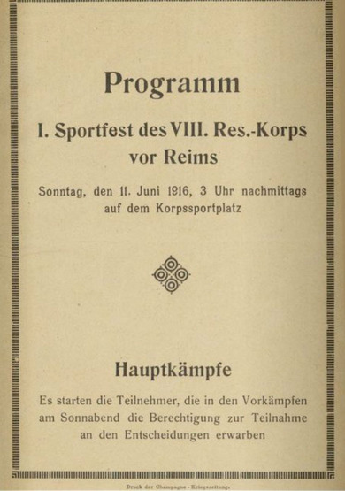 Programme for the sporting festival of a German army unit near Reims, France, brochure, 1916