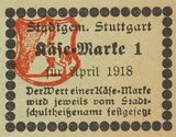 Food stamp for cheese, Stuttgart 1918