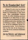 Poster issued by the Worker's and Soldier's Council of Kiel, 1918: Gustav Noske calls to adhere to law and order.