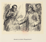 Drawing: Return of a blind prisoner of war by Ida C. Ströver-Wedigenstein.